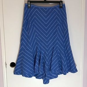 Odille anthropology blue with white stripes skirt